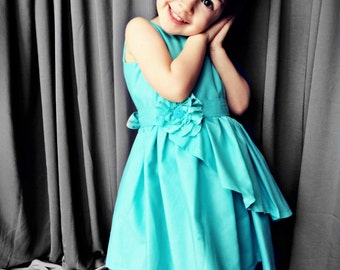 Girls Teal multi-layered Dress with Flower Sash size 12 months to 6 years