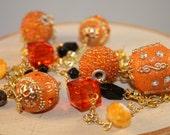Long Beaded Necklace- Orange, Black, and Gold Mixed Beads- Oregon State University OSU Beavers