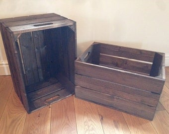 Handmade Wooden Crates. Dark Brown. FLAT SHIPPING FEES. Excellent Quality Handmade Crates & Gorgeous Vintage Look.