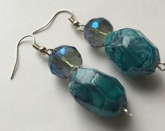 Ice Bloom Blue Earrings