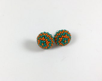Orange & Green Beaded Stud Earrings