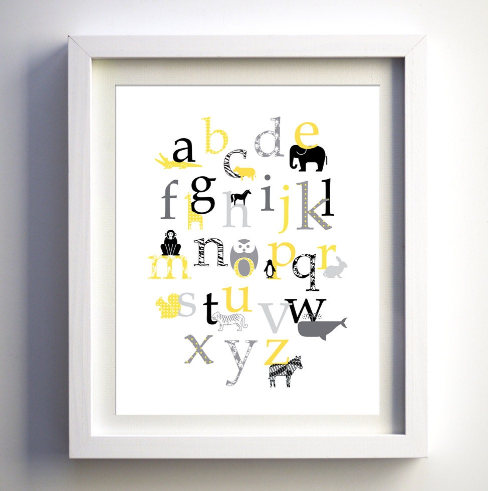 Gray yellow baby nursery art baby nursery wall decor animal for Alphabet wall decoration