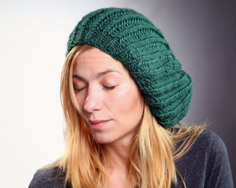 Emerald Green Slouchy Beanie Hat / Dark Green Slouch Tam Hat / Women Teens Kids / Europeanstreetteam