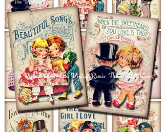 Valentine Digital Collage Sheet, Printable Instant Download of Romantic Couples, Altered Art, Vintage Ephemera for Cards, Tags, Labels. ATC