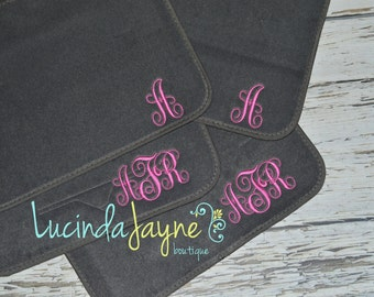Monogrammed Grey Car Floor Mats
