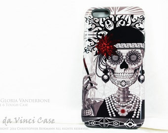 Sugar Skull  iPhone 6 6s Case - Mrs Gloria Vanderbone - 1920's Flapper Girl Day of the Dead iPhone 6 cover - TOUGH dual layer iPhone case