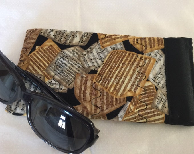 Music Pinch Open Sunglass Case, Padded Glasses Case, Easy Open/Close Sunglasses Case