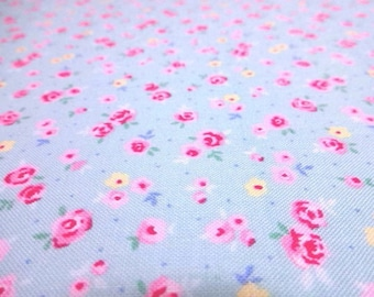 SALE Japanese fabric Small Flower Rose Saxeblue FQ