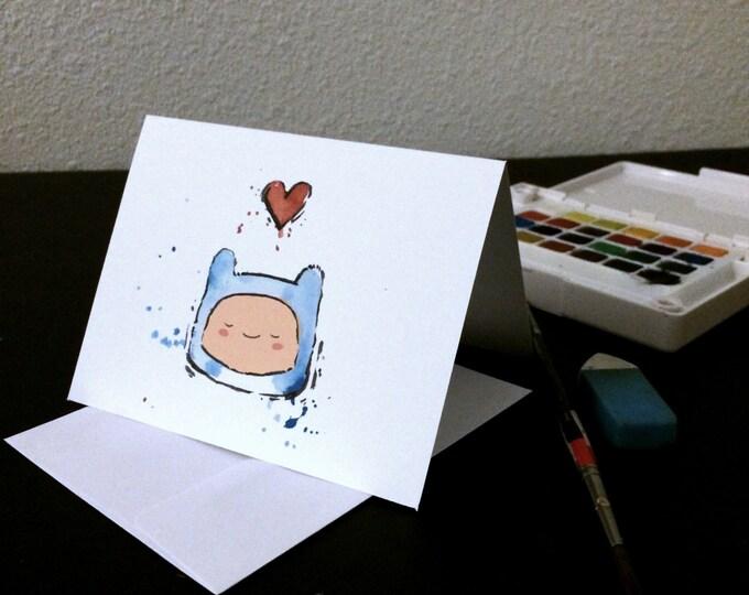 Valentine's Day Card Finn Blank Card / Archival 4x6 inch watercolor print / nerd geek girl guy dork Adventure Time