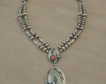 Vintage Navajo Sterling Silver Turquoise & Coral Double Strand Bench Bead Necklace