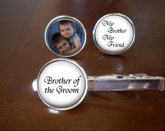 Brother of the Groom Cufflinks and Tie Clip Set