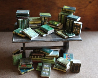 Dollhouse miniature 60 different green books set
