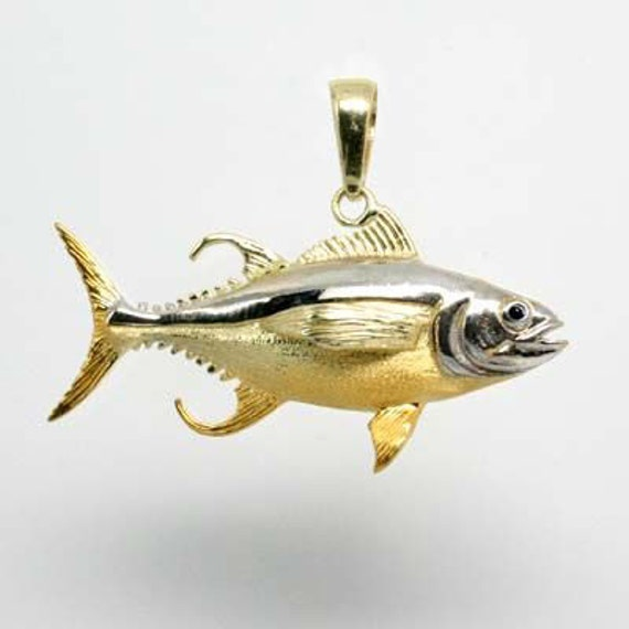 14k yellow gold solid 3 d yellowfin tuna fish pendant made in for Solid gold fish