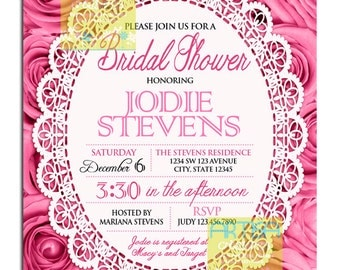 Pink Roses Invitation  - Pink Roses Bridal Shower Invitation - Pink Roses Birthday Invitation - Pink Roses ANY OCCASION Invitation DIY