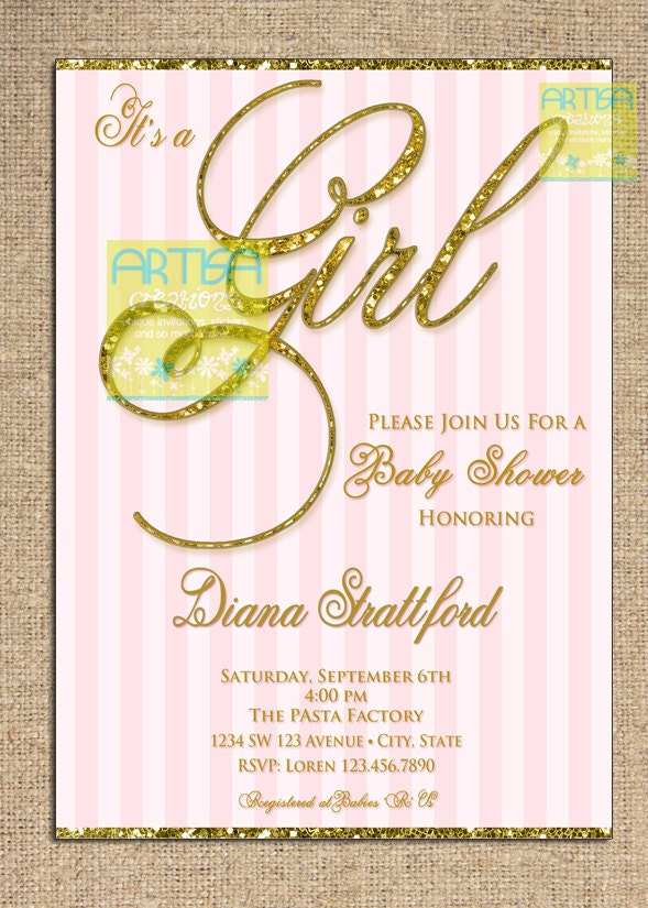 pink and gold baby shower invitation it 39 s a girl pink and