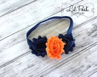 Girls Orange  and Blue Navy Shabby Flower Headband Game Day Auburn Headband