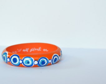 Hand Painted Orange and Blue Pop Bracelet