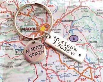 Hand stamped Latitude Longitude Keychain, Madrid, Spain