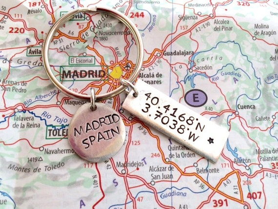 Hand Stamped Latitude Longitude Keychain Madrid Spain - What is the latitude and longitude of iceland