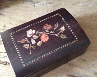 Vintage Walnut Marquetry Jewelry Box