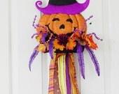 Halloween Door Hanger With Pumpkin And Witch Hat, Front Door Decoration, Orange Back Purple Door Hanger, Halloween Party Decoration, Spider