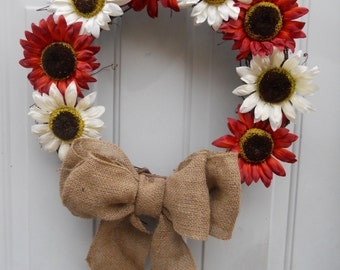 Autumn Fall Sunflower Grapevine Door wreath with burlap bow READY TO SHIP