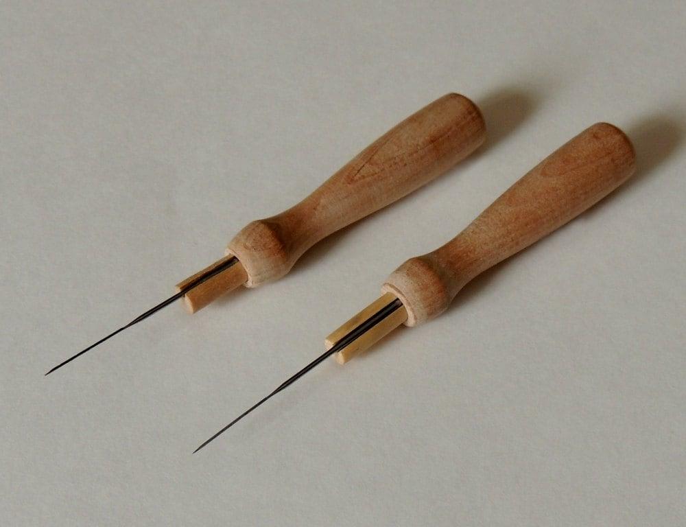 Wooden needle holder two felting holders including