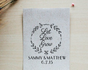 100 Customized Eco-Friendly Let Love Grow Wedding Seed Favor Envelopes