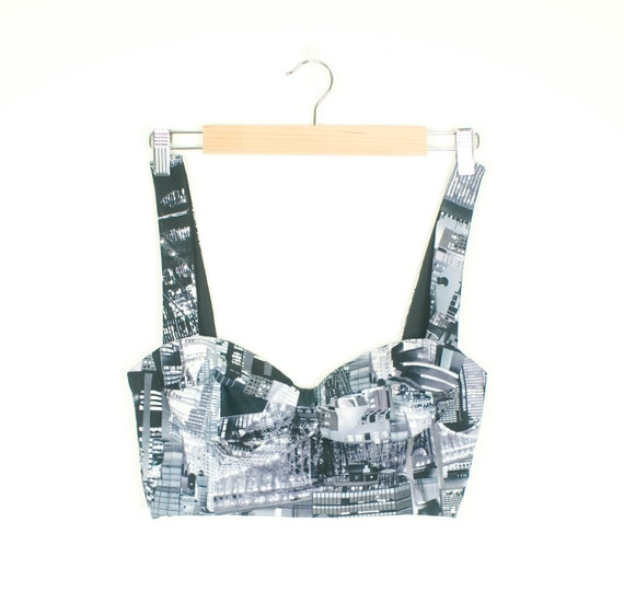 Cropped Bustier Top NYC Print