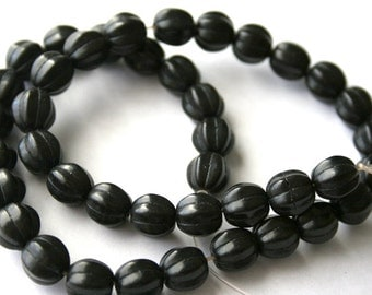 10 mm Black Turquoise, Magnesite, Gemstone Melon Beads