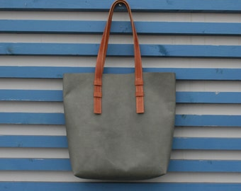 Leather tote bag Grey