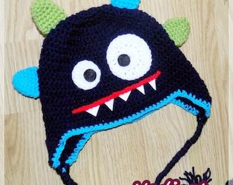Monster crochet hat  PATTERN pdf blue