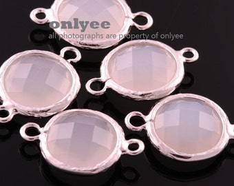 2pcs-12mmX12mm Rhodium Faceted Round shape Glass connectors(parallel)-WhiteSmoky(M351S-B)