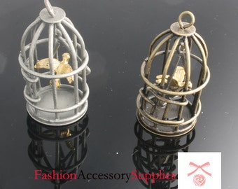 2pcs-43mm x22mm Antiqued Bronze,Silver Patina A Bird Cage charms,craft supplies , jewelry Connectors (A495)