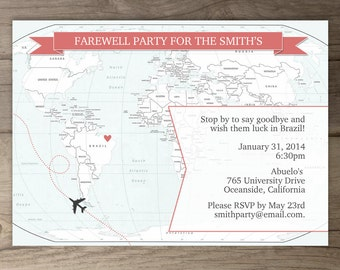 Going Away Party Invitations / Goodbye Party Invites / Moving Announcements - DIY Printable / custom / map / antique