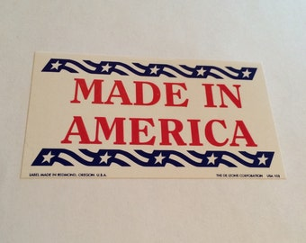 Made in America stickers, packaging sticker