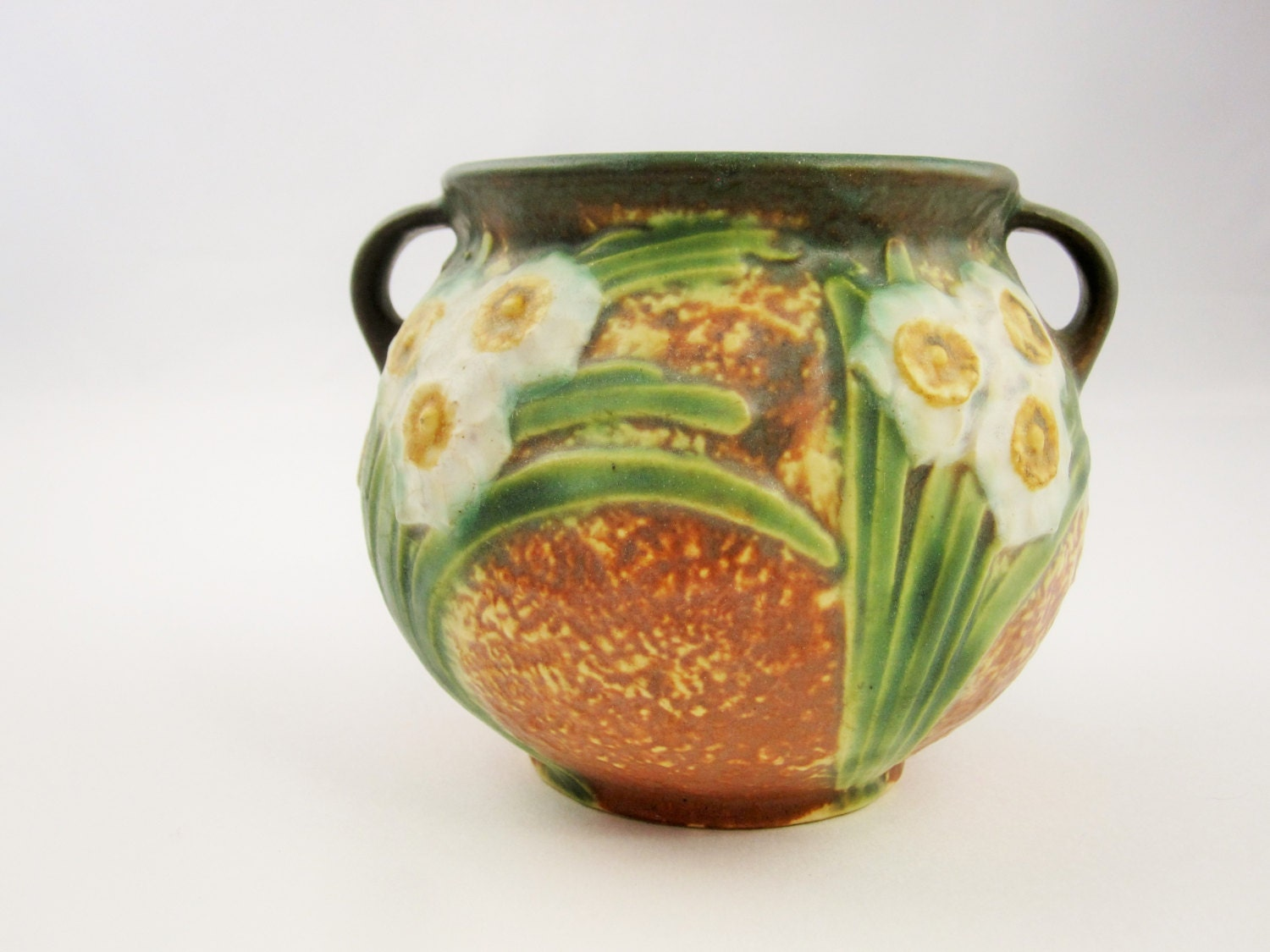 Roseville pottery 39 jonquil 39 pattern small planter for Pottery patterns