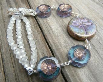 Dragonfly and Flower Bracelet.  Czech Glass Seed Bead Bracelet.