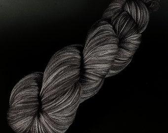 Pre-Clovis Lace: 063 - Fire Pit - 100% Superwash Merino Handpainted Lace Weight Yarn - black charcoal grey gray monochrome