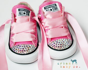 Infant, Toddler Low Top Baby Girl Pink Converse® All Star® Chuck Taylor's® With Pink Ribbon Laces & Swarovski® Crystal Rhinestones