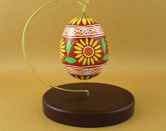 Pysanky Pisanki Ukrainian Polish Easter Egg Sunflower Hand Decorated Chicken Egg