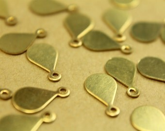 14 pc. Tiny Raw Brass Teardrop Tags: 13mm by 7.5mm - made in USA   RB-441