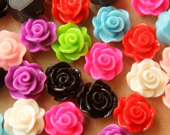 CLOSEOUT - 30 pc. Multi Colored Glossy Flower Cabochon 14mm | RES-428