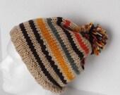 Unisex Stocking Cap Hand Knit Retro Striped with Pompom