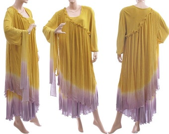 Discount 80 USD - was 210 now 130, boho maxi dress yellow lilac, hand dyed two layer viscose + cotton gauze, plus size L-XXL US size 18-24