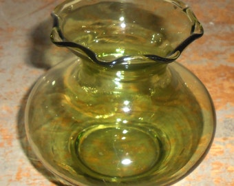 Vintage Vase, Glass Vase, Green, Ruffled, Green Glass, Bud Vase, Ball Vase, Small