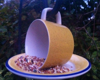 Hanging Teacup Birdfeeder-Sunny Yellow  Recycled Glassware