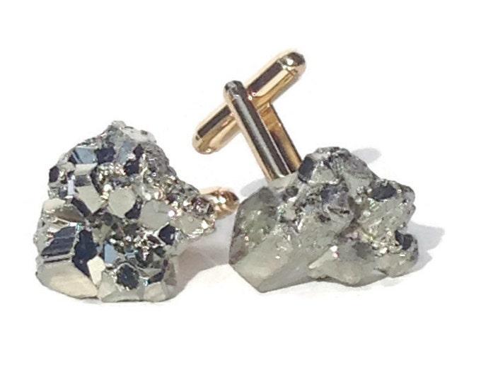 Gold Pyrite Cuff Links--Gold Cufflinks--Stone Cufflinks--Groom Cufflinks