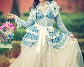 Bustle Skirt Lolita  Victoriana  Vintage Blue OPHELIA Vintage Lace Victorian Decadence By Ophelias Folly