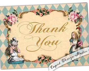 Digital Printable Alice in Wonderland Thank You cards. Instant download Alice in Wonderland stationery. DIY print your own thank you notes.
